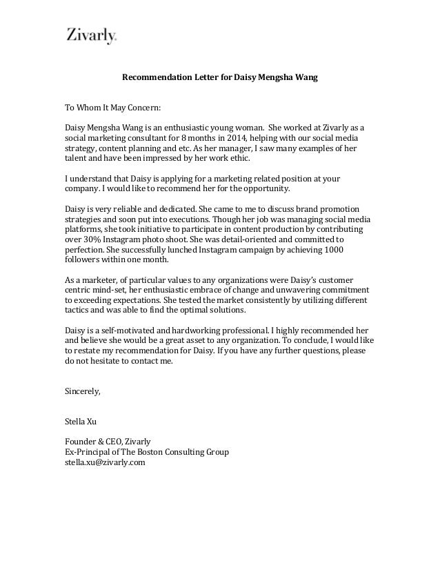 Superb Recommendation Letter For Daisy Mengsha Wang ...