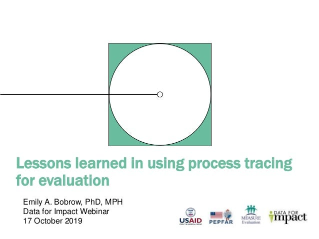Lessons learned in using process tracing for evaluation Emily A. Bobrow, PhD, MPH Data for Impact Webinar 17 October 2019