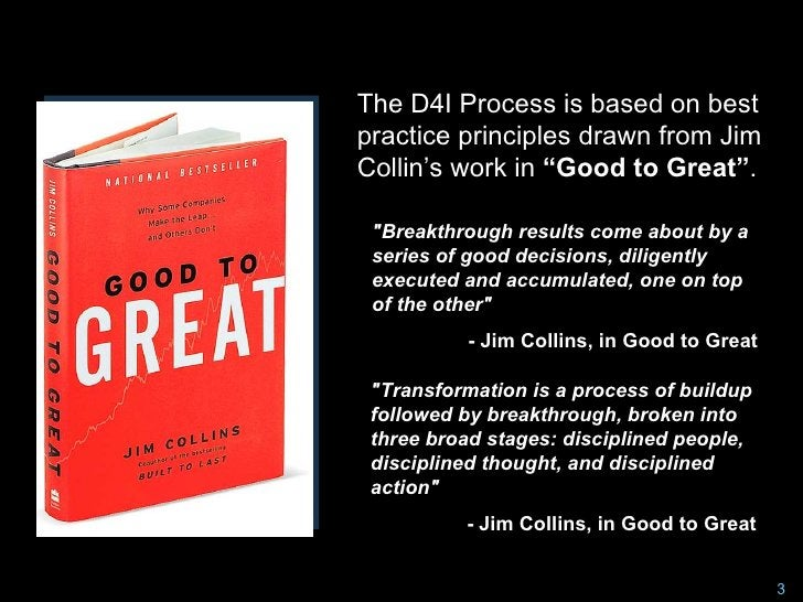 """The D4I Process is based on best practice principles drawn from Jim Collin's work in """"Good to Great"""".   """"Breakthrough resu..."""