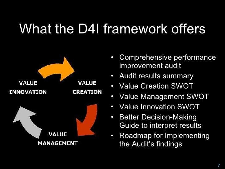 What the D4I framework offers               • Comprehensive performance                 improvement audit               • ...