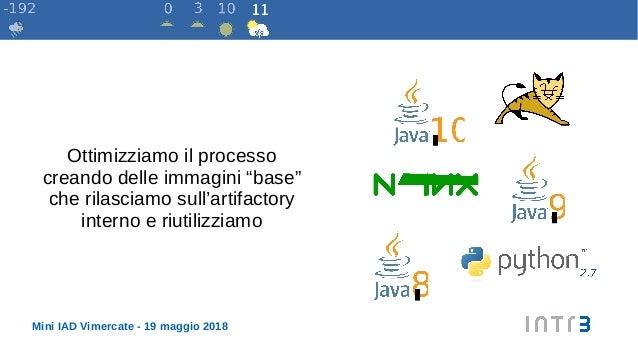 """Mini IAD Vimercate - 19 maggio 2018 Ottimizziamo il processo creando delle immagini """"base"""" che rilasciamo sull'artifactory..."""