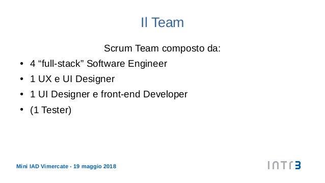"""Mini IAD Vimercate - 19 maggio 2018 Il Team Scrum Team composto da: ● 4 """"full-stack"""" Software Engineer ● 1 UX e UI Designe..."""