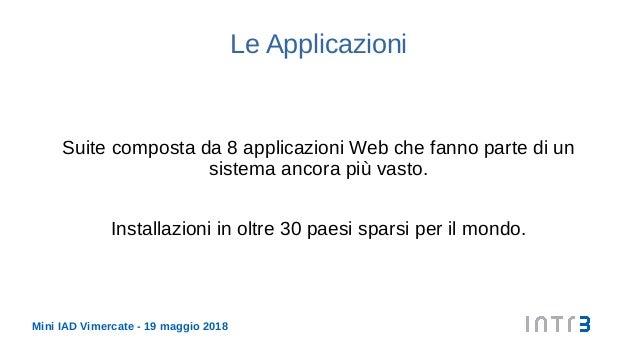 Mini IAD Vimercate - 19 maggio 2018 Le Applicazioni Suite composta da 8 applicazioni Web che fanno parte di un sistema anc...