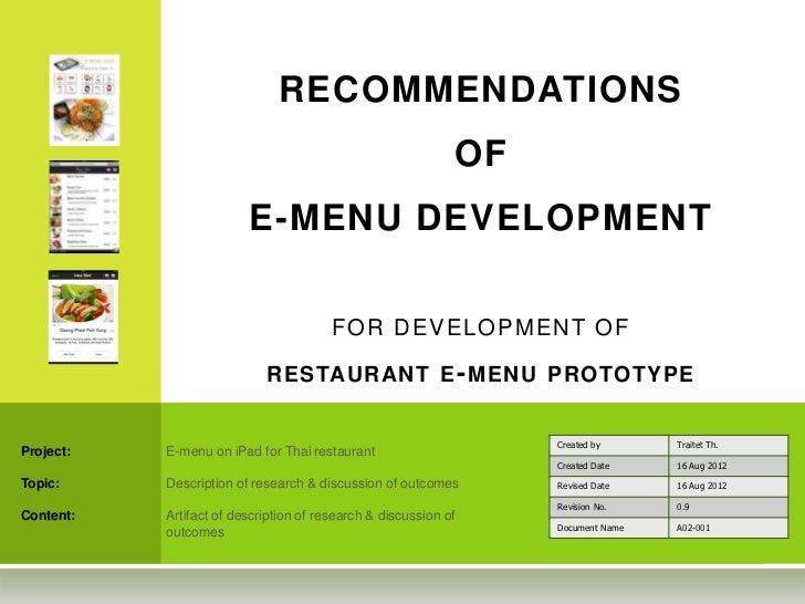 RECOMMENDATIONS                                                             OF                         E-MENU DEVELOPMENT ...