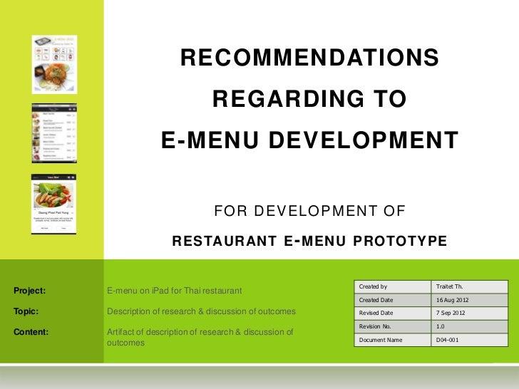 RECOMMENDATIONS                                       REGARDING TO                         E-MENU DEVELOPMENT             ...