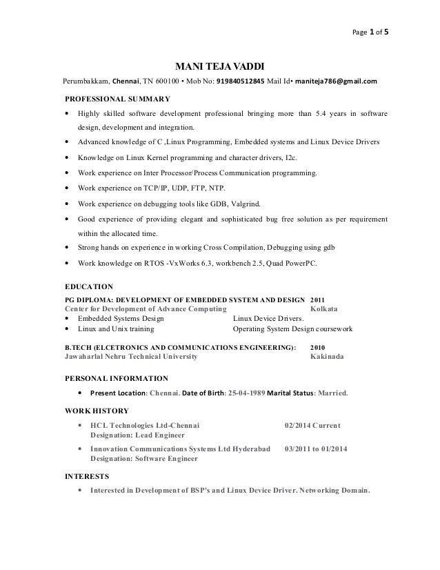 Page 1 of 5 MANI TEJA VADDI Perumbakkam, Chennai, TN 600100 • Mob No: 919840512845 Mail Id• maniteja786@gmail.com PROFESSI...