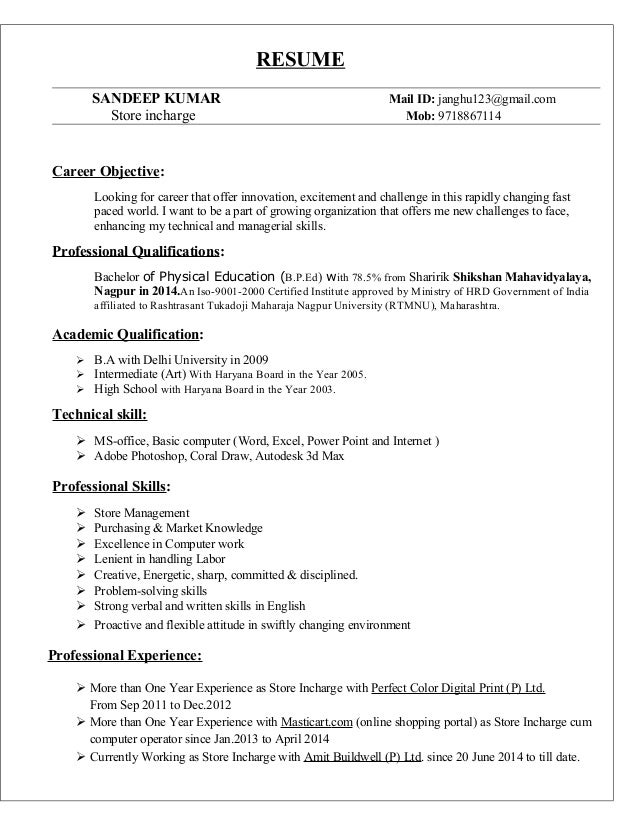 resume sandeep kumar mail id janghu123gmailcom store incharge mob 9718867114. Resume Example. Resume CV Cover Letter