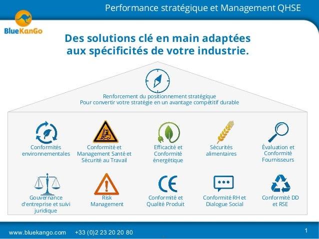 www.bluekango.com +33 (0)2 23 20 20 80 1 Performance stratégique et Management QHSE Conformités environnementales Conformi...