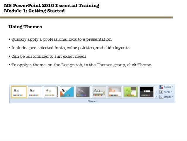 ms powerpoint essential training module 1