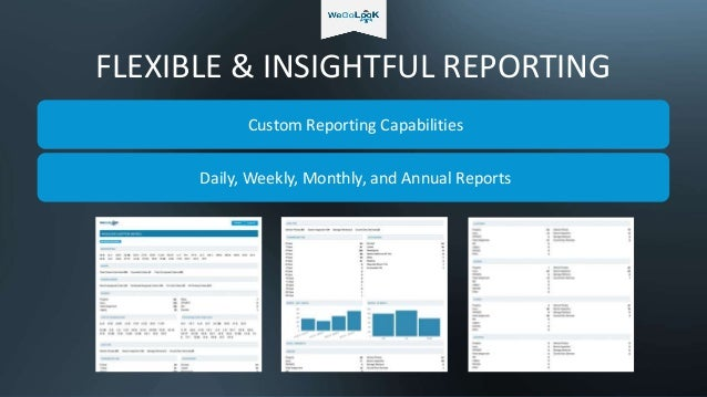FLEXIBLE & INSIGHTFUL REPORTING Custom Reporting Capabilities Daily, Weekly, Monthly, and Annual Reports