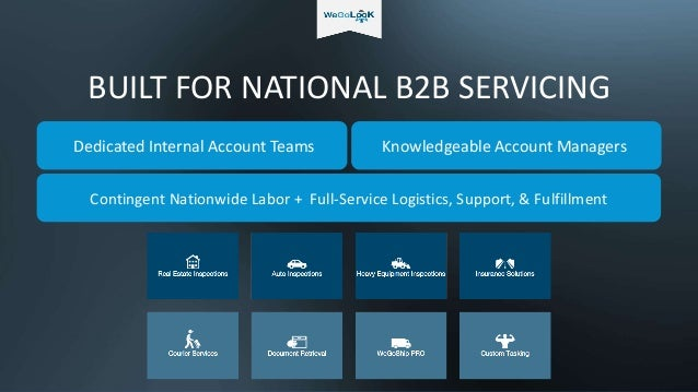 BUILT FOR NATIONAL B2B SERVICING Dedicated Internal Account Teams Knowledgeable Account Managers Contingent Nationwide Lab...