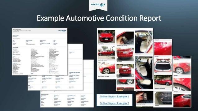 Example Automotive Condition Report Online Report Example 1 Online Report Example 2
