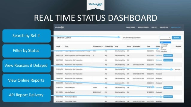 REAL TIME STATUS DASHBOARD View Online Reports Search by Ref # Filter by Status View Reasons if Delayed Weather API Report...