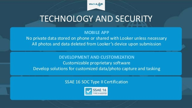 TECHNOLOGY AND SECURITY MOBILE APP No private data stored on phone or shared with Looker unless necessary All photos and d...