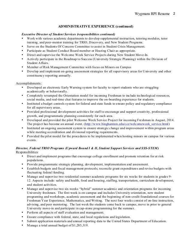 Rensselaer Union Rensselaer Polytechnic Institute. Wygmans 2016 Resume