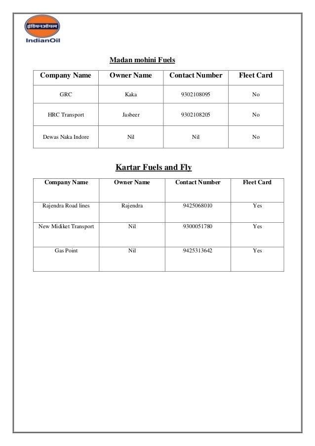 XTRA POWER FLEET CARD MARKET SURVEY