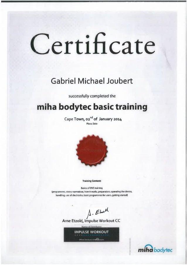 Miha Bodytech Basic Training Certificate