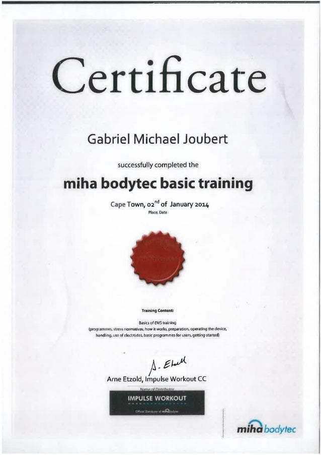 Bodytec   Miha Bodytech Basic Training Certificate