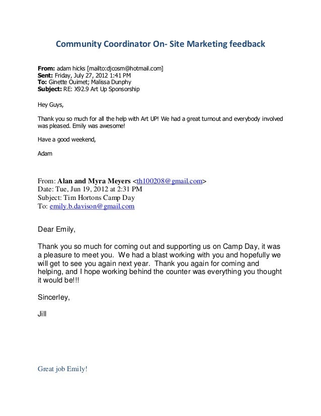Community Coordinator On- Site Marketing feedback From: adam hicks [mailto:djcosm@hotmail.com] Sent: Friday, July 27, 2012...