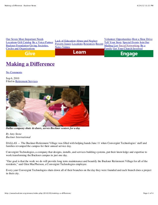 4/24/12 11:21 PMMaking a Difference : Buckner News Page 1 of 4http://www.buckner.org/enews/index.php/2010/09/making-a-diff...