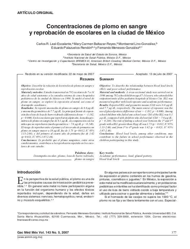 377Gac Méd Méx Vol. 143 No. 5, 2007 Leal-Escalante y cols. (www.anmm.org.mx) Concentraciones de plomo en sangre y reprobac...
