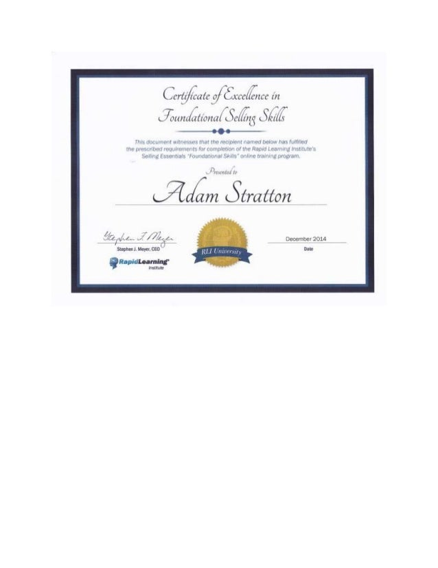 Certificate for Foundational Selling Skills