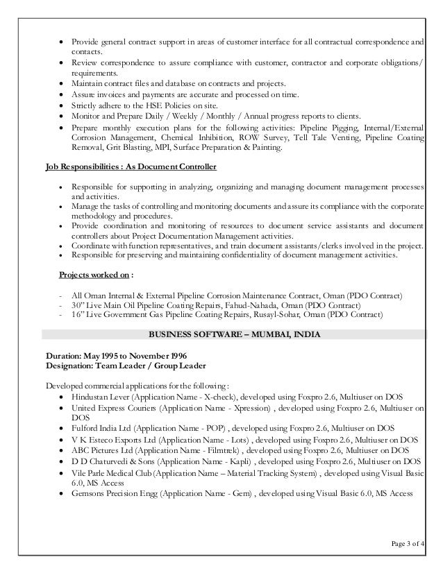 Sample Cv Document Controller Job