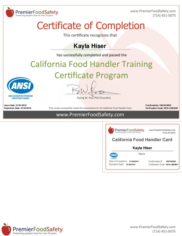 ca food handler card