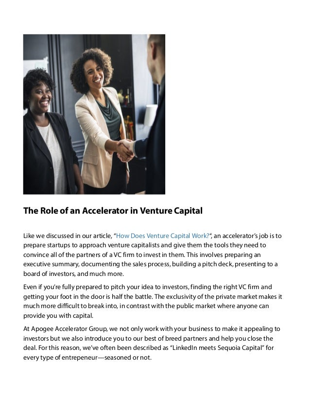 A Quick Guide to Venture Capital (Pt  II) by Apogee Accelerator Group