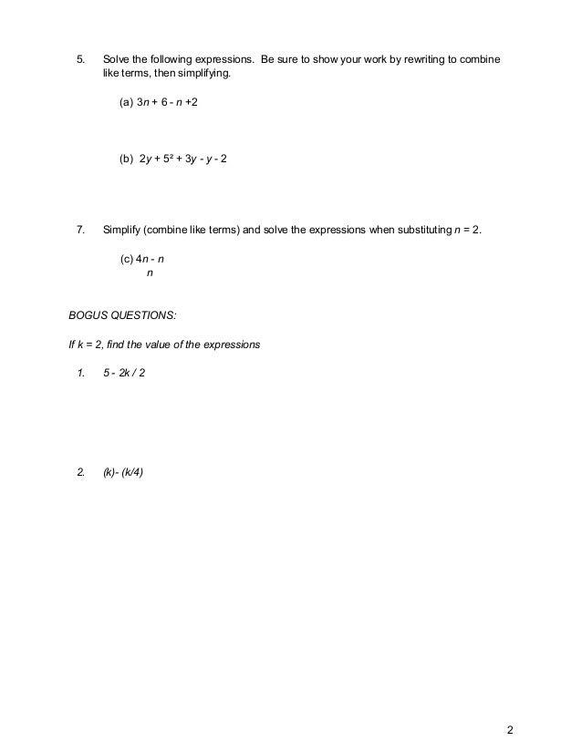 Math Quiz 1 - Algebra - 6th grade