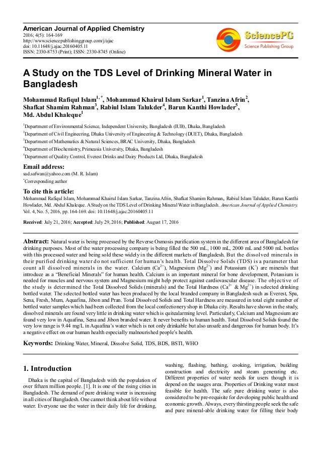 A Study On The Tds Level Of Drinking Mineral Water In Bangladesh
