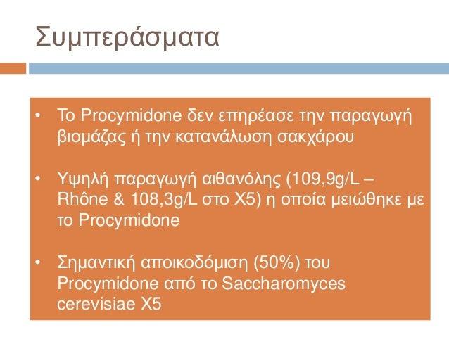 Συμπεράσματα • Το Procymidone δεν επηρέασε την παραγωγή βιομάζας ή την κατανάλωση σακχάρου • Yψηλή παραγωγή αιθανόλης (109...