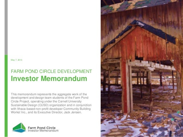 Investors Memorandum - Farm Pond Circle