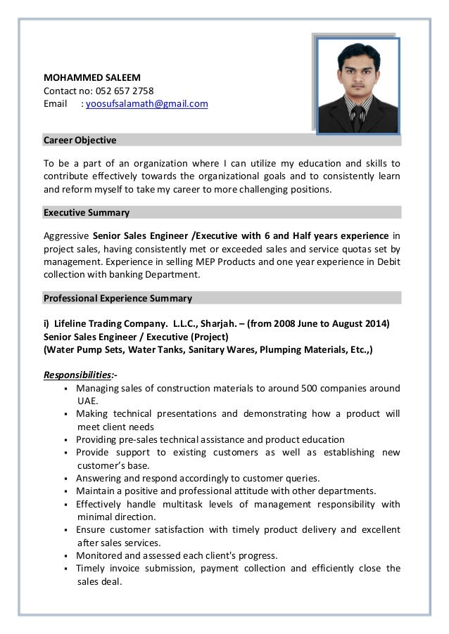 Senior Sales Engineer Executive With 6 And Half Yrs Experience Sal .