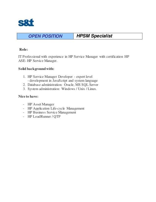 Open Position Hpsm Specialist Propunere