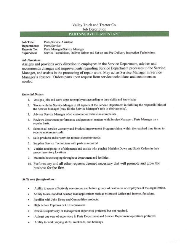 parts manager job description