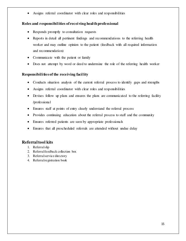 ... Emergency Conditions; 16. 15  Assigns Referral Coordinator With Clear  Roles And Responsibilities ...