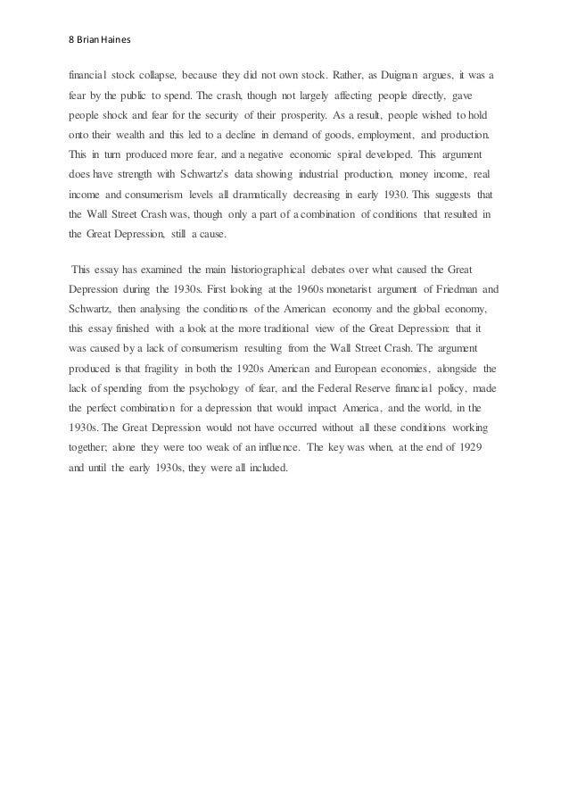 argumentative essay on stock broker and bank ethics in the great depression Milton friedman essay great depression macro quation bank decision time at the european central bank business ethics essay.