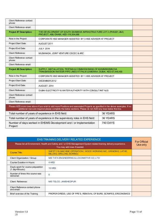 hse consultant resume
