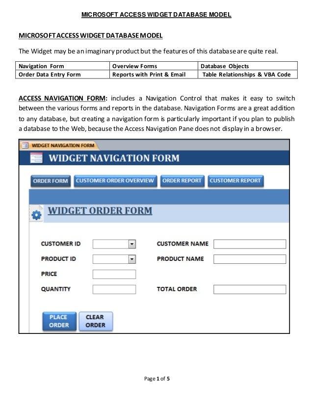 2016-08-01 ACCESS DATABASE – WIDGET MODEL on google docs order form, infopath order form, word order form,
