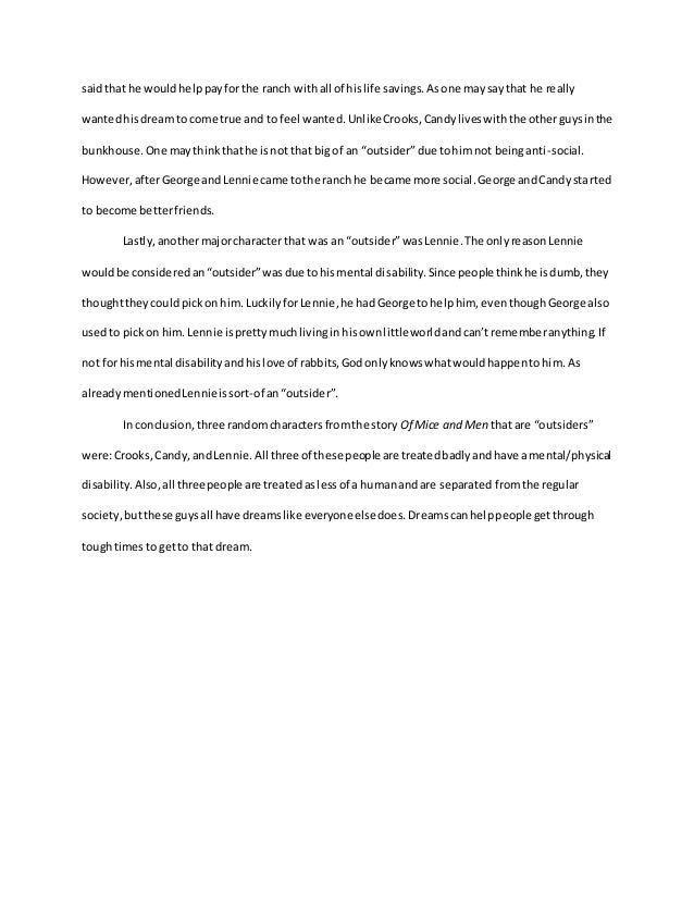 Of mice and men outsiders essay top scholarship essay ghostwriter websites gb