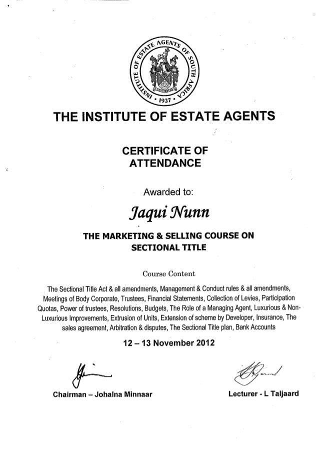 Certificates Jaqui Nunn