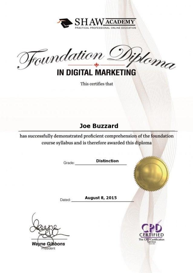 Diploma Digital Marketing Foundation Shaw Academy