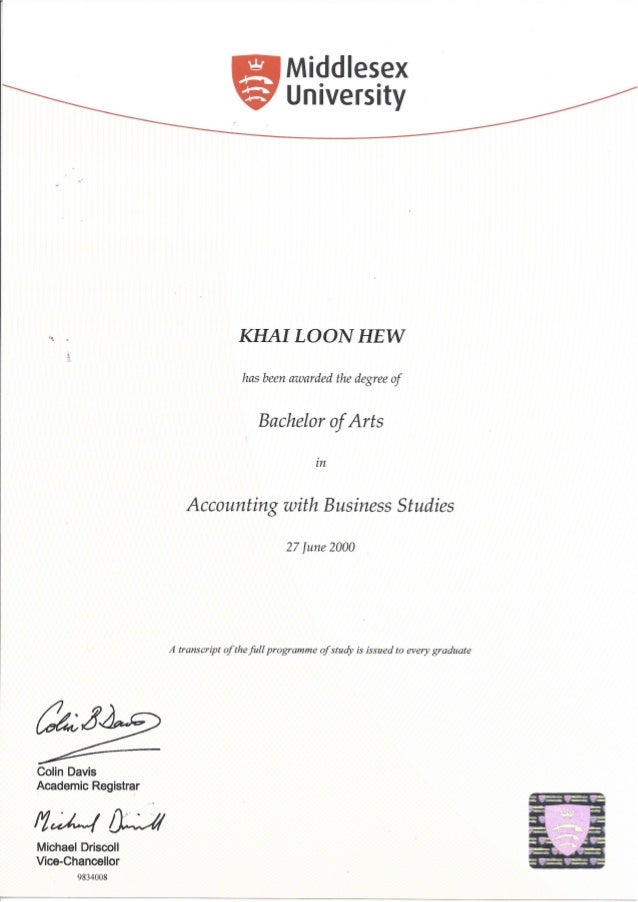 Middlesex Univ Certificate Ba Accounting With Business Studies