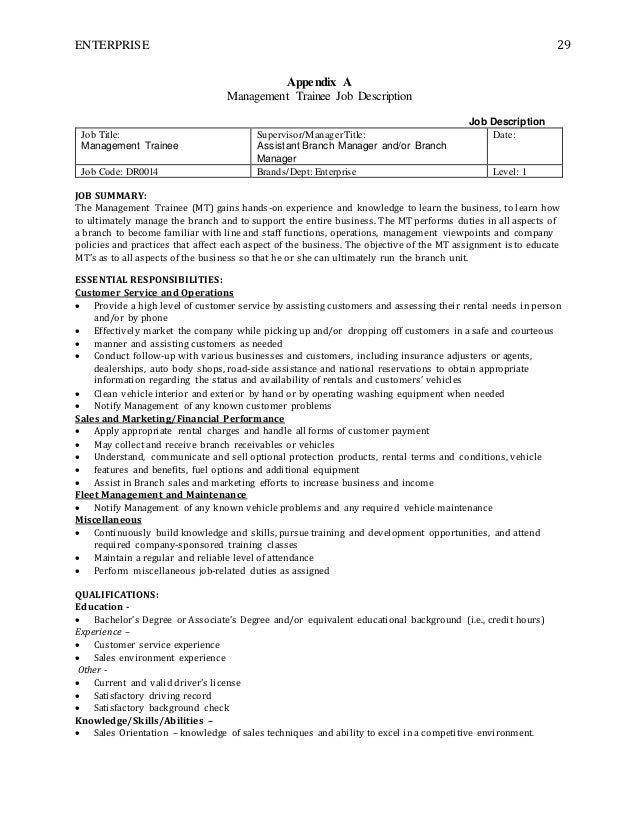 Store manager trainee job description