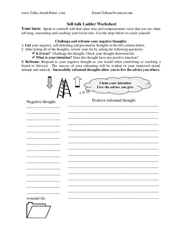 Telkas CBT Stress Management Toolkit – Negative Self Talk Worksheet