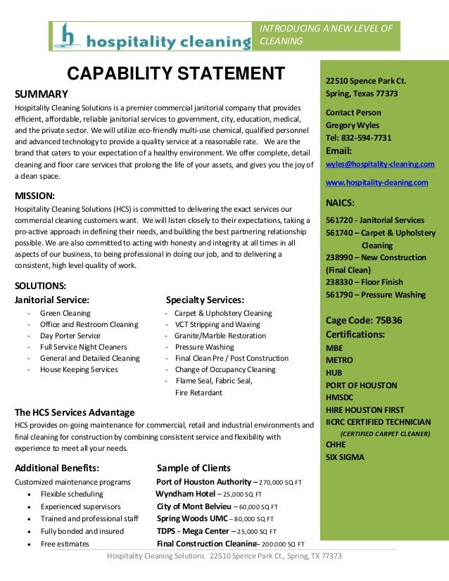 how to write a capability statement examples
