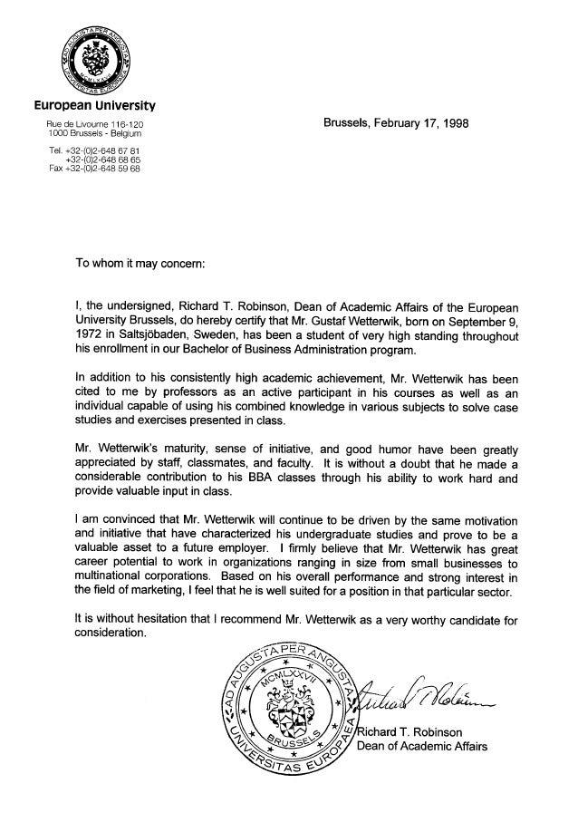 european university recommendation letter