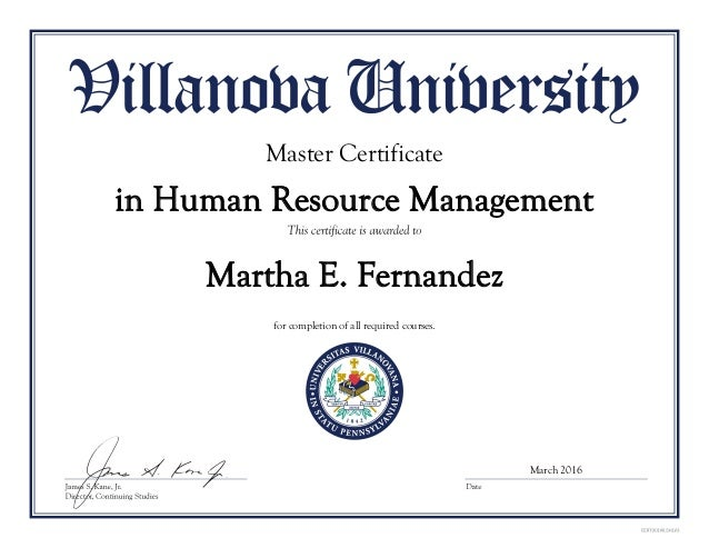 certificate of achievement in human resources management