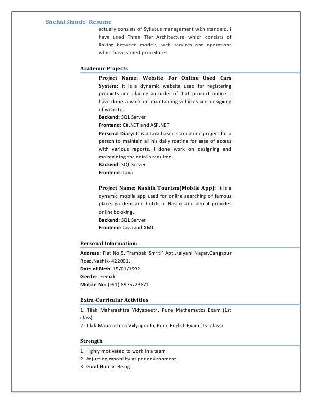 snehal shinde 1yrexp resume